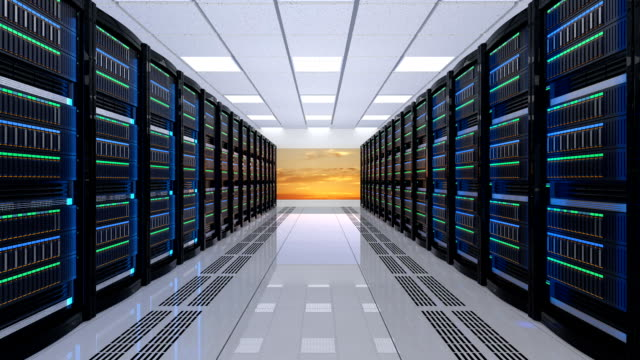 Modern server room interior with sunset scene outside the window. video