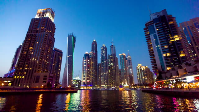 HD: Modern skycrapers in Dubai marina video