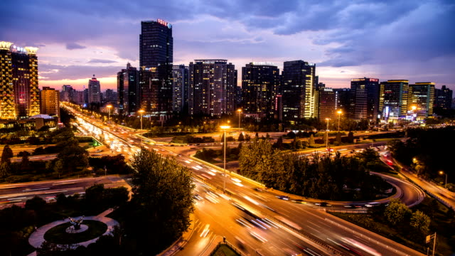 modern skyline and buildings in beijing, time lapse - Stock Video video