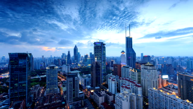 vídeos y material grabado en eventos de stock de moderno panorama de la ciudad, paisaje de la ciudad y el tráfico de shanghai, timelapse. - prosperidad