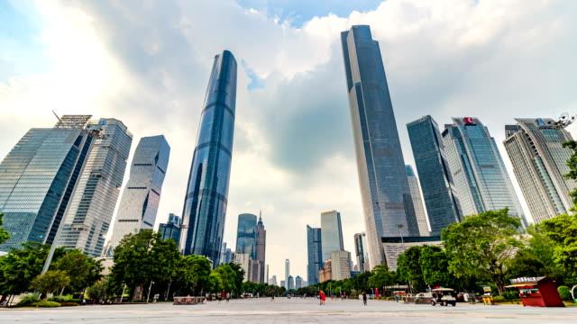 広州の近代的な高層ビル/広州、中国 - 緑 ビル点の映像素材/bロール