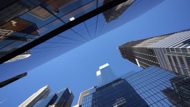 ws la modern skyscrapers in lower manhattan / new york city, usa - guardare in su video stock e b–roll