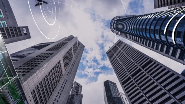 modern smart buildings in CBD of modern city. time lapse hyper lapse