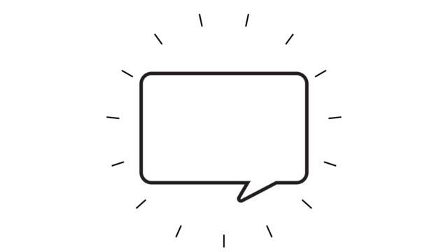 moderne speech bubble line icon animation auf weißem hintergrund - flat design videos stock-videos und b-roll-filmmaterial