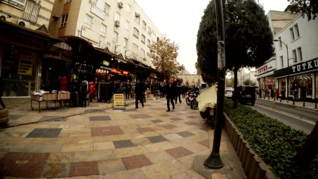 Modern Street of Ancient City Sanliurfa Cloudy Wintry Day video
