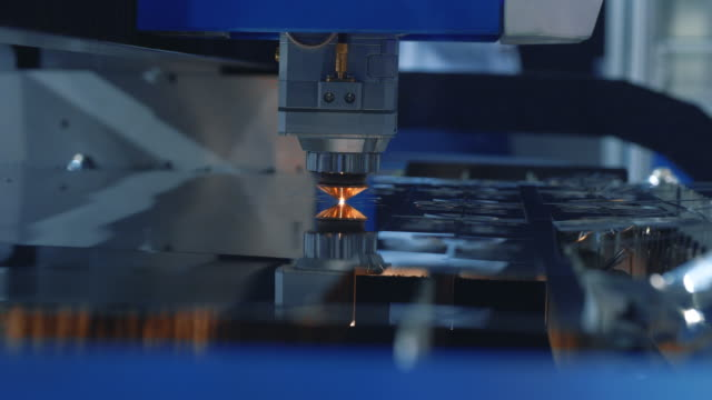 Modern Technological CNC Cutting Power Action on Metallic Horizontal Ironwork Object Hot Gas. Making Industrial Details in Computer Program Heavy Industry. Cut Metal Material Laser Burn Closeup Shot Modern Technological CNC Cutting Power Action on Metallic Horizontal Ironwork Object Hot Gas. Making Industrial Details in Computer Program Heavy Industry. Cut Metal Material Laser Burn Closeup Shot metallurgy stock videos & royalty-free footage