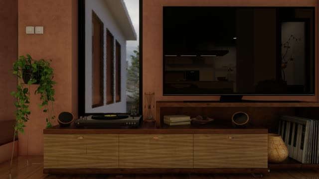 vídeos de stock e filmes b-roll de modern television stand next to the window in natural daylight - living room background