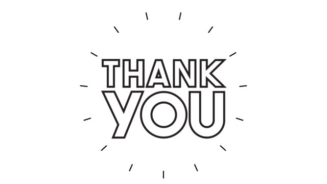 "Modern ""THANK YOU"" Line Icon Animation on white background"