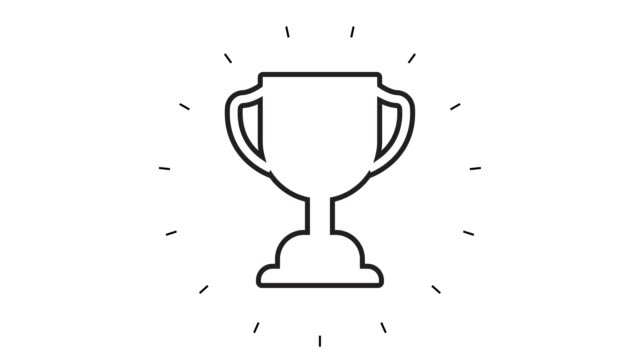 Modern Trophy Award Line Icon Animation on white background
