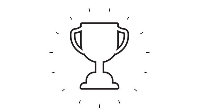 stockvideo's en b-roll-footage met modern trophy award line icon animation op witte achtergrond - prijs onderscheiding