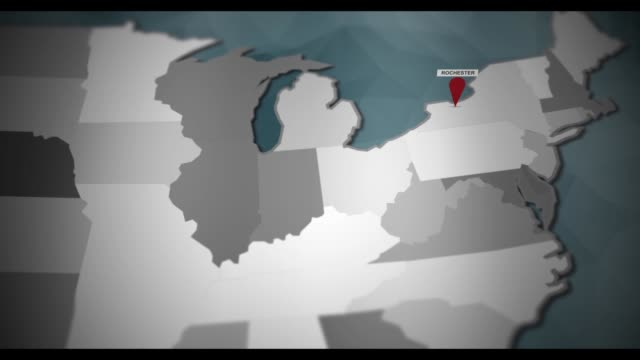 Modern United States motion graphics map - Rochester Pin Location Animation