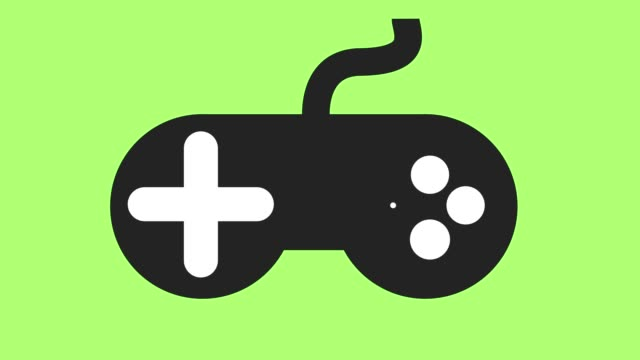 Modern video games controller icon on off animation green