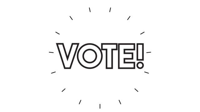 """vidéos et rushes de animation moderne d'icône de ligne de ligne de """" vote sur le fond blanc - picto urne"""