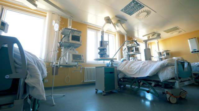 Modern ward at a clinic. Hospital room full of medical equipment.