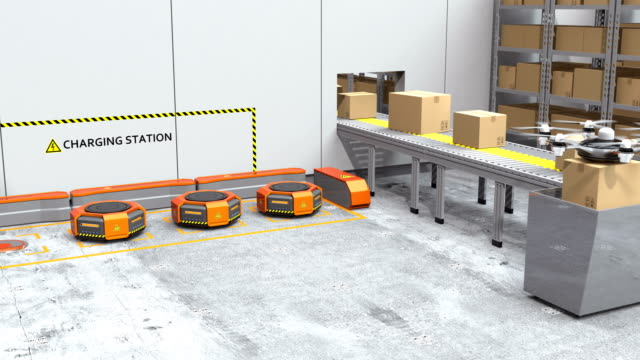 Modern warehouse equipped with robotic arm, drone and robot carriers video