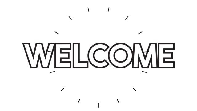 "vídeos de stock e filmes b-roll de modern ""welcome"" line icon animation on white background - cortejar"
