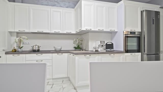 Modern white neoclassic kitchen interior