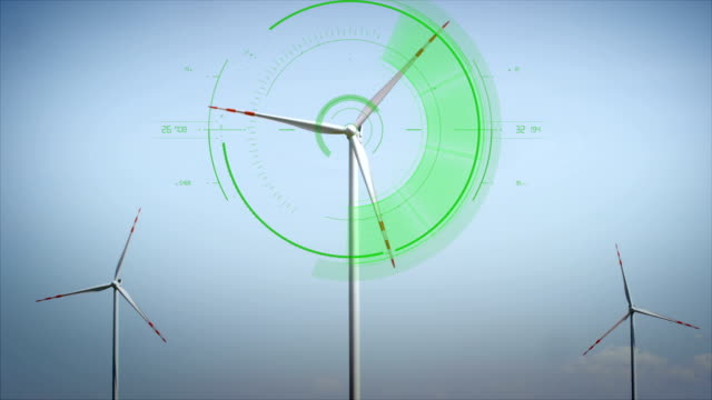 Modern Wind Turbines Wind Turbines with clean energy counter layout. renewable energy stock videos & royalty-free footage
