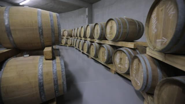 Modern wine cellar full of caskets