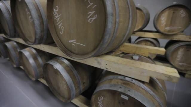 vídeos de stock e filmes b-roll de modern wine cellar - barrica