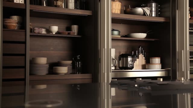 modern wood kitchen interior with shelf - video