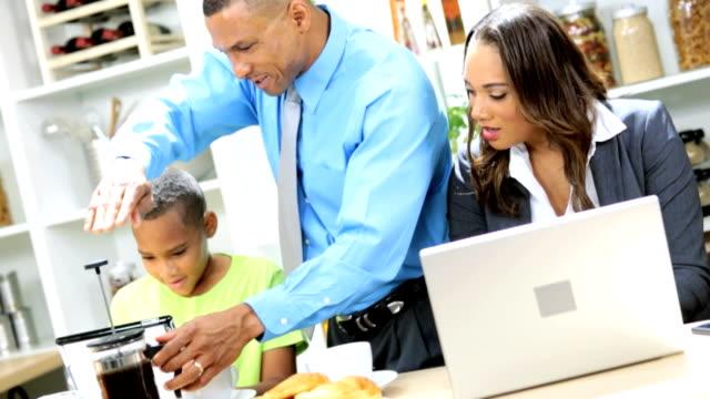 Modern Working African American Family Breakfast video