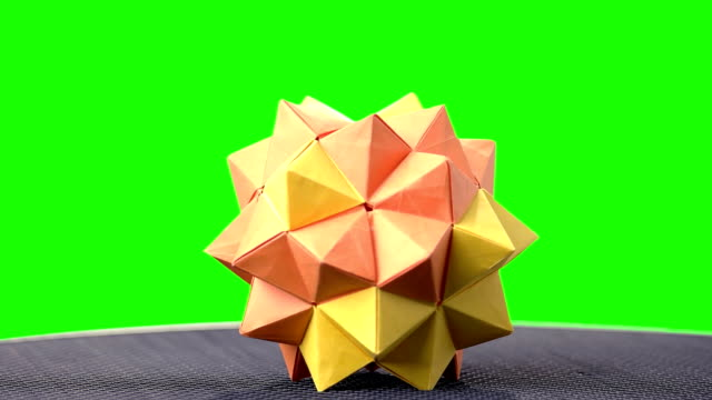 Modular Origami Ball On Green Screen Stock Video More Clips Of