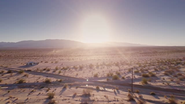 Mojave Desert at Sunset - Aerial View Drone flight over open desert near Twentynine Palms, California. mojave desert stock videos & royalty-free footage