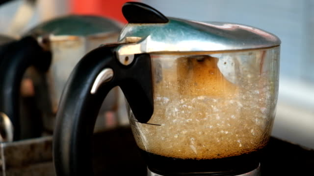 moka pot use coffee maker with hot coffee