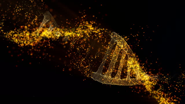 DNA molecule model. Glowing particles