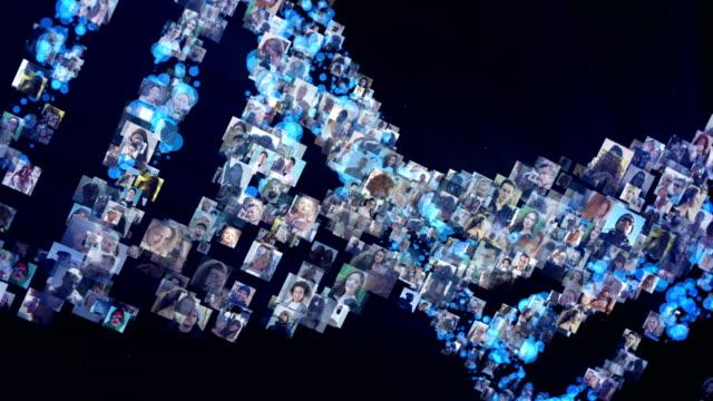DNA molecule model made of photos