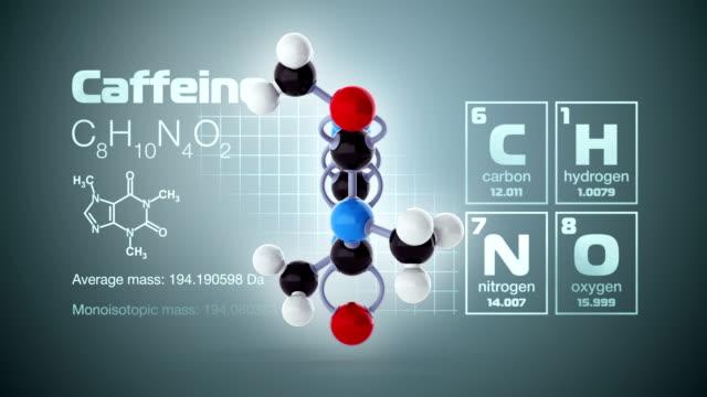 molekül von koffein - koffeinmolekül stock-videos und b-roll-filmmaterial