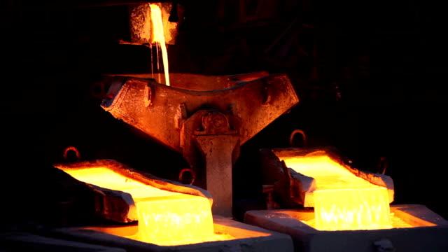 Molten copper Molten copper is poured into molds at Chuquicamata Copper Refinery. (Canon 5DMKII) copper stock videos & royalty-free footage