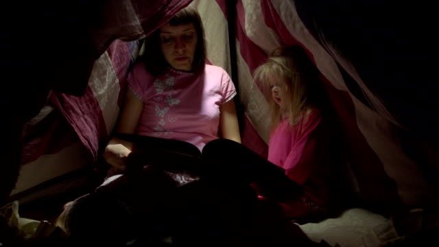 Mom and child daughter are reading a book with flashlights in tent at night. video