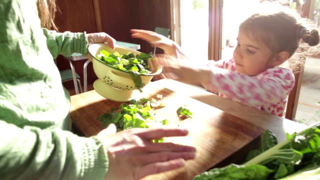 mamma och dotter att göra hälsosam mat - hälsosamt ätande bildbanksvideor och videomaterial från bakom kulisserna