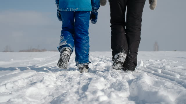 Mom and her son. Family walking in the winter snowy countryside. Slow motion. video