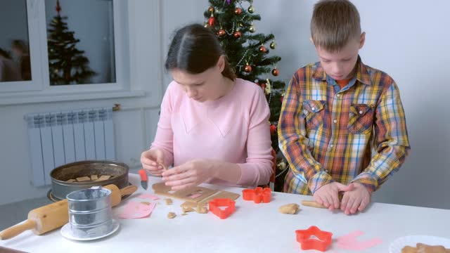 Mom and son are baking making cooking gingerbread cookies together at home. video
