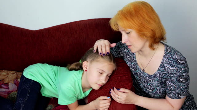 Mom comforts her daughter video