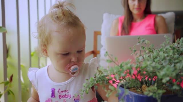 stockvideo's en b-roll-footage met mam freelancer werkt op de computer, praten over skype, de dochter is verveeld en bestudeert de potplanten, slow motion - kids online abuse