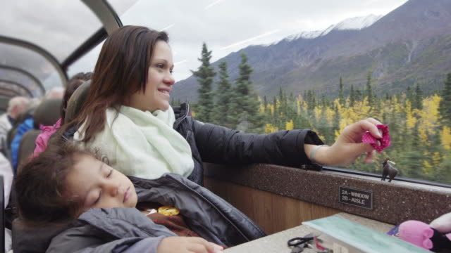 Mom on a train