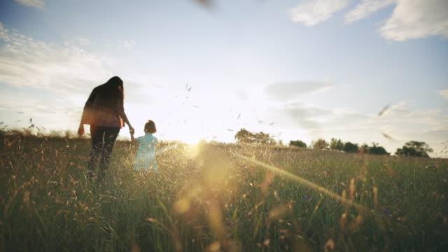 vídeos de stock e filmes b-roll de mom with children walking in nature at sunset - caminho adiante