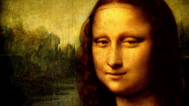 mona lisa portrait talking - renaissance architecture stock videos & royalty-free footage