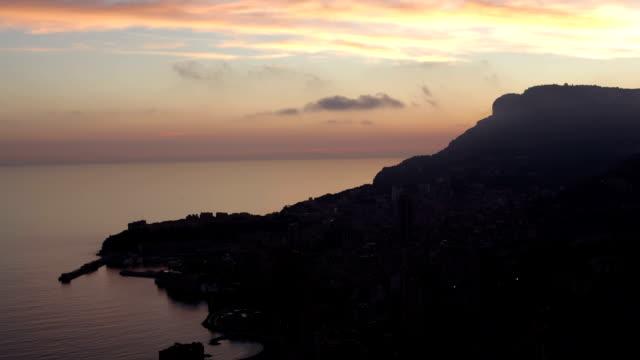 Monaco (Monte Carlo) aerial view night timelapse video