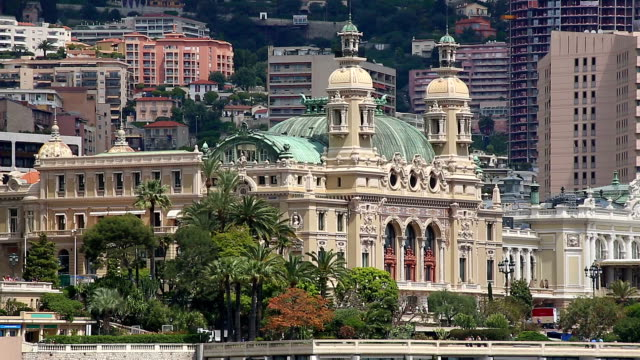 Monaco Casino from harbour.mov Long shot of the Monte Carlo Casino, Monaco viewed from the Prince's Palace monte carlo stock videos & royalty-free footage