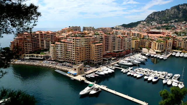 Monaco Fontveille harbour.mov The Fontvielle harbour to the west of Monte Carlo in Monaco. The location of the helicopter heliport. monte carlo stock videos & royalty-free footage