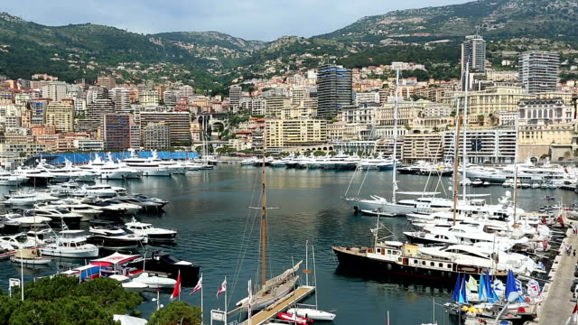 Monaco Harbour.mov Monaco harbour viewed from Fort Antoine monte carlo stock videos & royalty-free footage