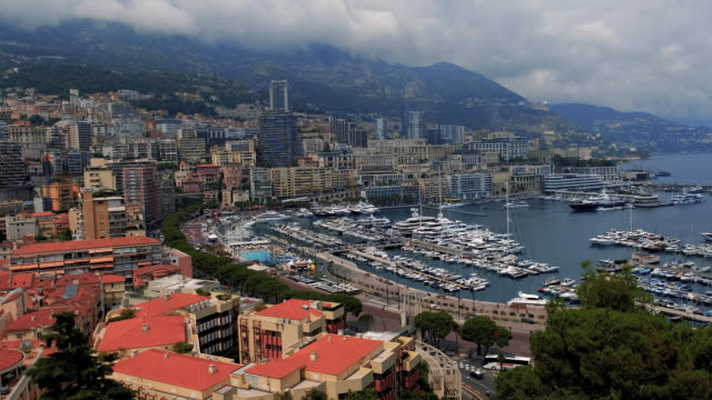 Monaco port with Yahts TIMELAPSE, Monte Carlo city in sunny day Luxury Monaco Monte Carlo city port view yahts boats and ships monte carlo stock videos & royalty-free footage
