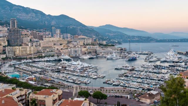 Monaco-Ville Stadt Skyline von Tag zu Nacht Zeitraffer, Monte Carlo, Monaco-4K-Zeitraffer – Video