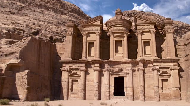 Monastery carved on rock at Petra El Deir or The Monastery at Petra, Jordan. The stone city in the middle east treasury stock videos & royalty-free footage