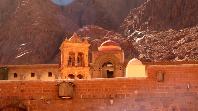 Monastery of St. Catherine in the background of the mountains video